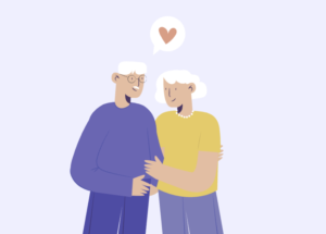 Dessin d'un couple de personnes âgées.